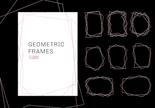 Pink gold geometric polyhedron frames collection