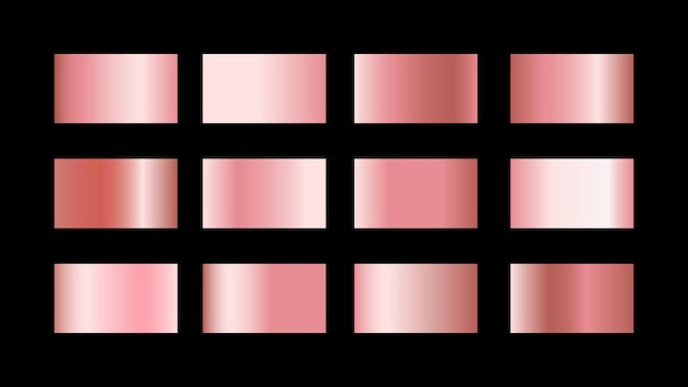 Pink gold gradient color swatches set isolated on black background for metallic graphic design style