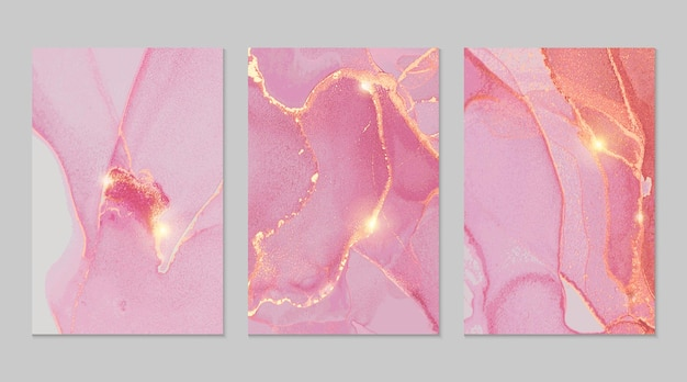 Pink and gold marble abstract textures