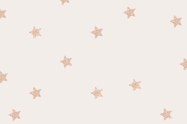 Pink gold shimmery stars pattern on beige wallpaper