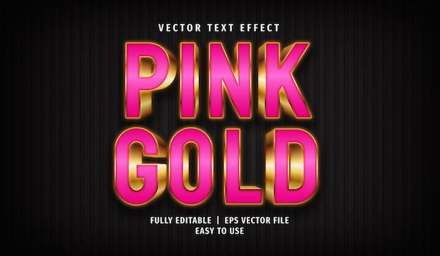 ピンクゴールドのテキスト効果、編集可能なテキストスタイル