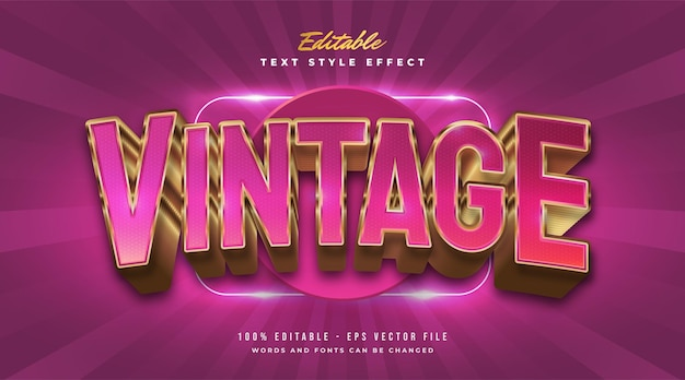 Pink and gold vintage text style with curved and embossed effect. editable text style effect