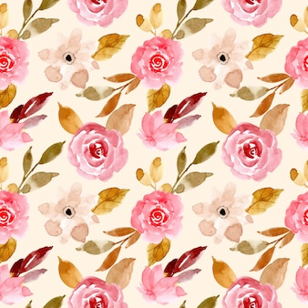 Pink and gold watercolor floral seamless pattern