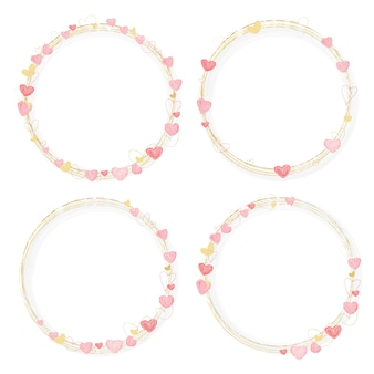 Pink and golden watercolor hearts wreath frame