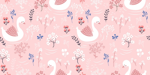 Pink goose illustration in seamless pattern