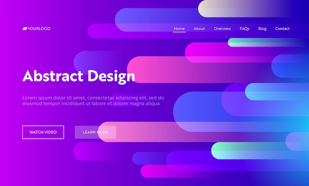 Pink gradient abstract background geometric horizontal drop shape landing page.