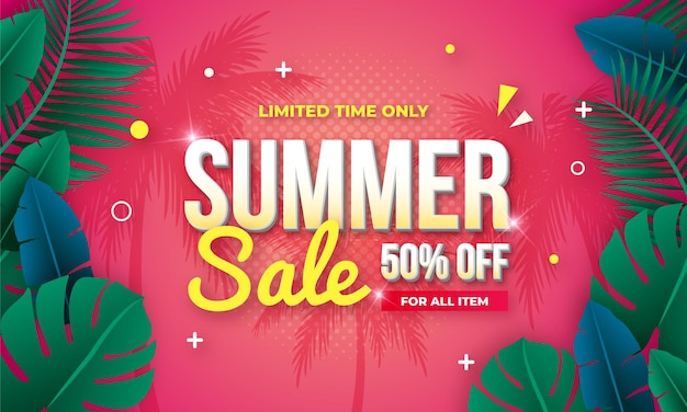 Pink gradient end of summer sale banner design