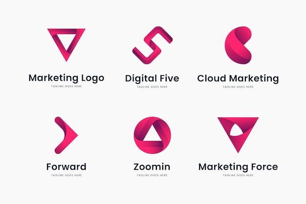핑크 그라데이션 마케팅 로고 템플릿 세트