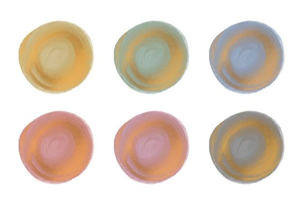 골드 반짝이 원형 모양으로 분홍색, 녹색 및 파랑 수채화 브러시 스트로크