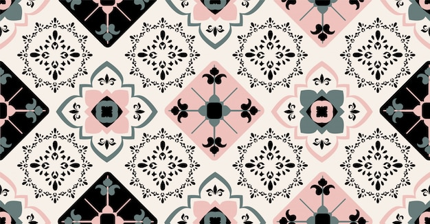 Pink green black geometric seamless pattern in african style with square, tribal, circle shape