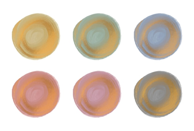 Pink, green and blue watercolor brush stroke with gold glitter circle shapes