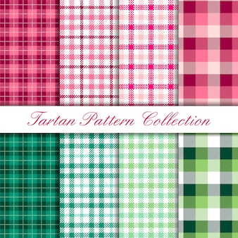 Pink and green collection of tartan buffalo pattern set