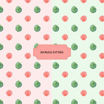 ピンクの緑の点水彩のシームレスなパターン