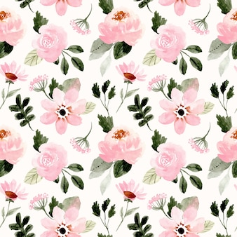 Pink green floral watercolor seamless pattern