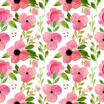 Pink and green floral watercolor seamless pattern