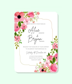 Pink green floral wedding invitation card  with watercolor