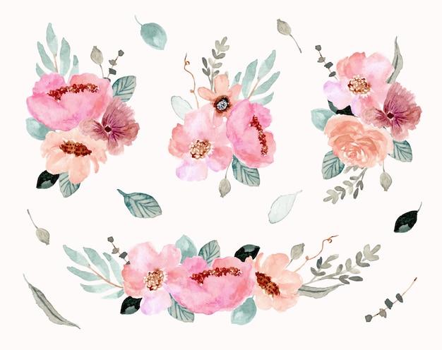 Розовая зеленая цветочная композиция акварель