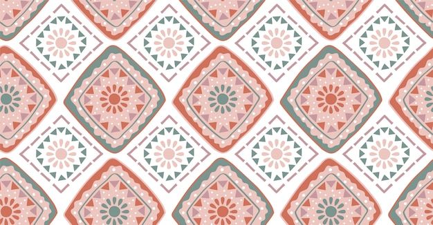 Pink green geometric seamless pattern in african style