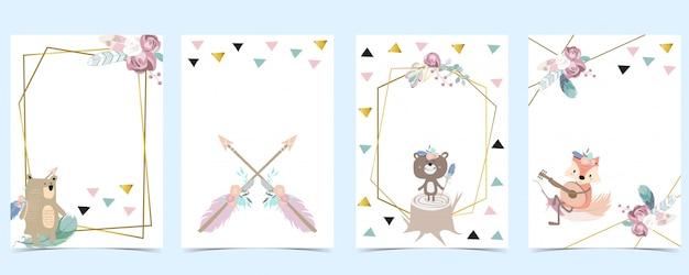 クマ、キツネ、矢印、羽のピンクグリーンゴールドジオメトリベビーシャワーの招待。子供と赤ちゃんの誕生日の招待状。編集可能な要素