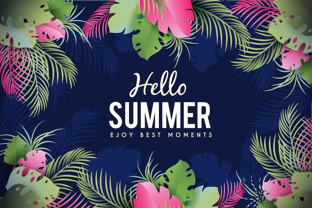 Pink and green leaves summertime background Free Vector
