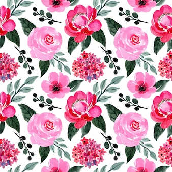 Pink and green pattern with floral watercolor
