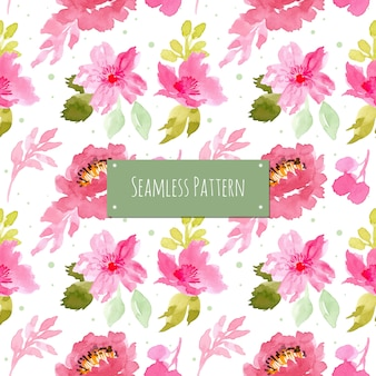 Pink and green pattern with watercolor floral