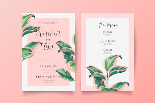 Pink and green wedding invitation and menu template