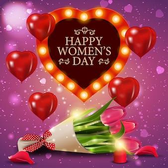 튤립 꽃다발과 함께 여성의 날 핑크 인사말 카드