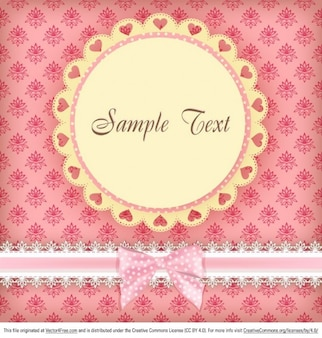 Pink greeting card with floral decoration