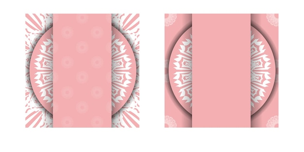 タイポグラフィ用に用意された曼荼羅の白い模様のピンクのグリーティングカード。