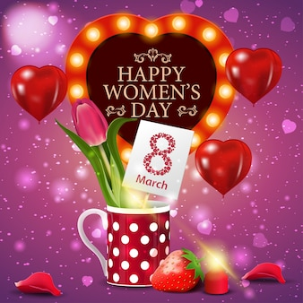 Pink greeting card for women's day with tulip in a mug