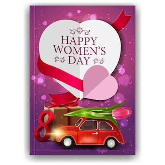 Розовая поздравительная открытка для женской дневной машины с тюльпаном