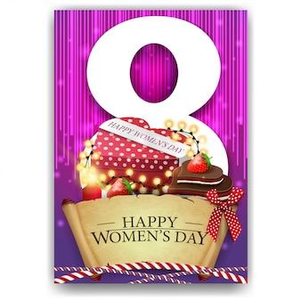여성의 날 분홍색 인사 엽서