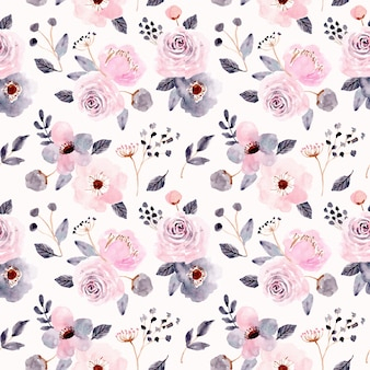 ピンクグレー花水彩シームレスパターン