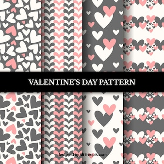Pink and grey valentines day pattern set