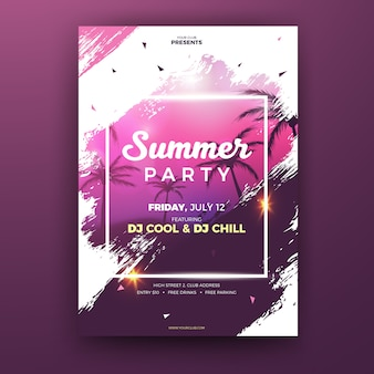 Pink Grunge Summer Party Flyer Template with Palm Trees