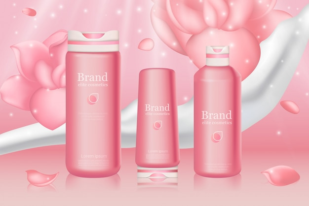 Pink haircare bottles