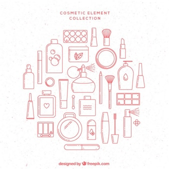 Pink Hand Drawn Cosmetic Elements
