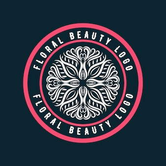 Pink hand drawn feminine and floral logo badge suitable for spa salon skin hair care and beauty company premium