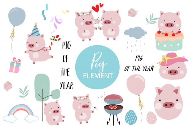 Pink hand drawn pig element with cake, barbecue, balloon, hat, cake, flower and rainbow.