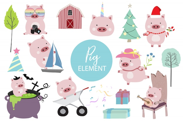 Pink hand drawn pig with ship, pig in halloween, hat, christmas tree and rainbow glasses