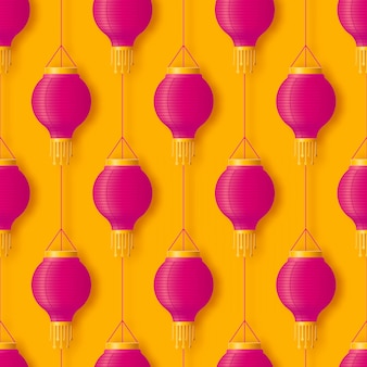Pink hanging chinese or indian paper lantern for festival diwali or chinese happy new year seamless pattern in abstract pop style