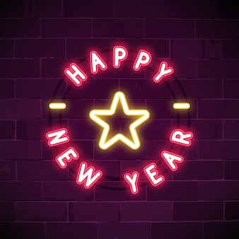Pink happy new year neon sign vector