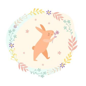 잎 화 환에 꽃과 분홍색 토끼