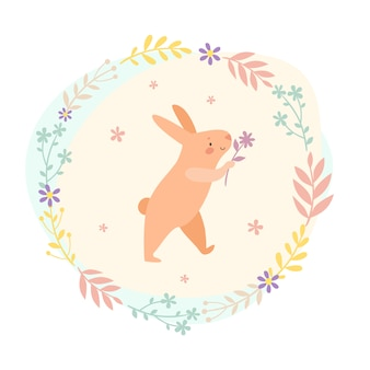 Pink hare with a flower in a leaf wreath