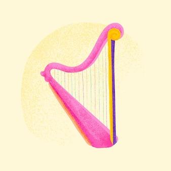 Pink harp sticker vector musical instrument illustration