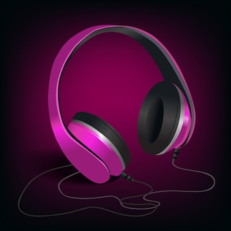 Pink headphones on purple