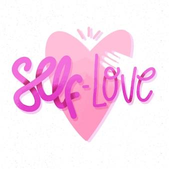 ピンクのハートと手の自己愛のレタリング