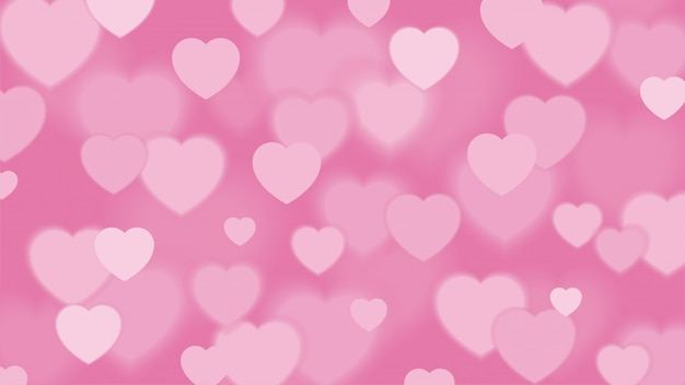 Pink heart background with bokeh effect