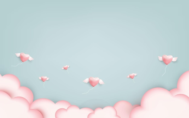 핑크 하트 풍선은 밝은 파란색 녹색 배경에 그림을 사랑합니다.